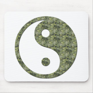 Ying Yang Green Leaves Mouse Pad