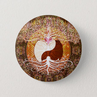 Ying Yang Heart Tree of Life Button