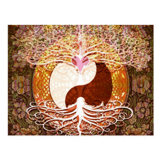 Ying Yang Heart Tree of Life Postcard