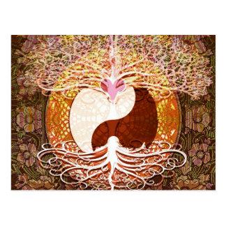 Ying Yang Heart Tree of Life Postcard