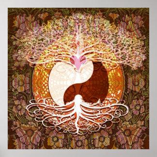 Ying Yang Heart Tree of Life Poster