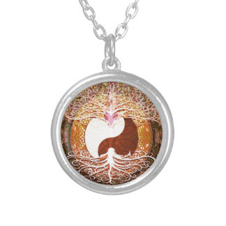 Ying Yang Heart Tree of Life Silver Plated Necklace