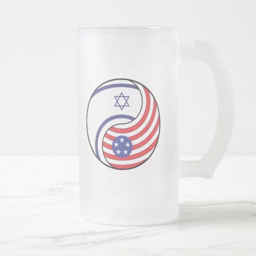 Ying Yang Israel América Taza Cristal Mate