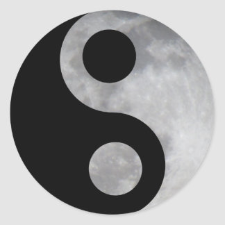Ying yang moon round stickers