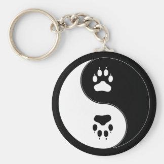 Ying Yang Paw Print Basic Round Button Keychain
