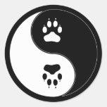 Ying Yang Paw Print Classic Round Sticker