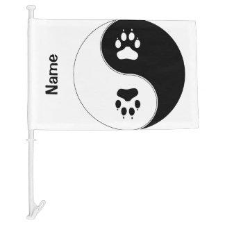 Ying Yang Paw Print Car Flag