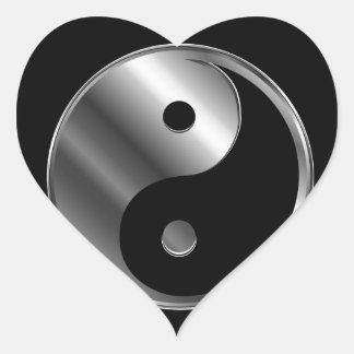 Ying yang calcomanías de corazones