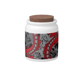 Ying Yang Red Dragons Candy Jars