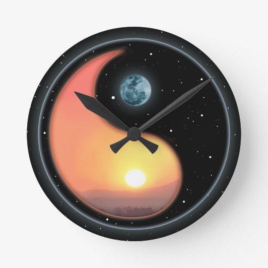 Ying Yang Sunset Round Clock Zazzle