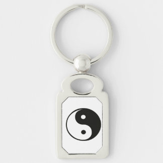 Ying yang,tao,chinese art of energy,feng shui Silver-Colored rectangular metal keychain