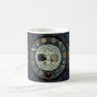 ying yang with religious symbols coffee mug