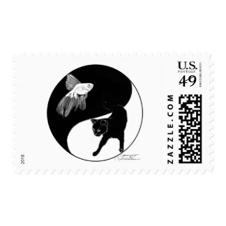 yinyang block colour lineart postage