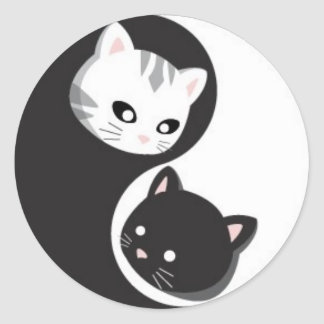 YinYang Buttons and Ninji Classic Round Sticker