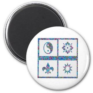 YinYang, Fleur de Lys - 4 Artistic Base Pallets Refrigerator Magnet