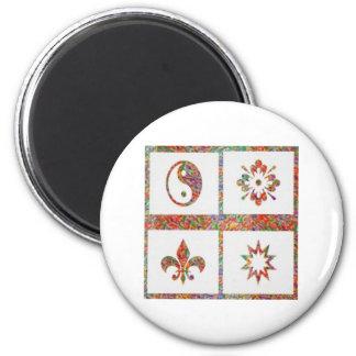 YinYang, Fleur de Lys - 4 Artistic Base Pallets Fridge Magnets