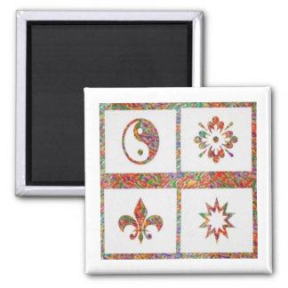 YinYang, Fleur de Lys - 4 Artistic Base Pallets Fridge Magnet
