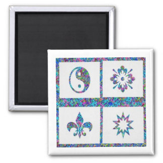 YinYang, Fleur de Lys - 4 Artistic Base Pallets Magnets