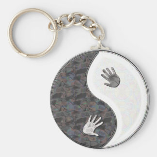 yinyang hands basic round button keychain