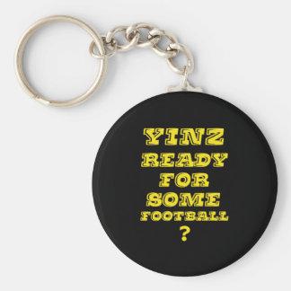 Yinz listo para un cierto fútbol llavero redondo tipo pin