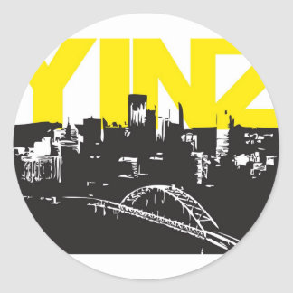 Yinz Pittsburgh Etiquetas Redondas