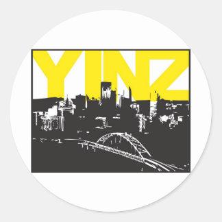 Yinz Pittsburgh Pegatina Redonda