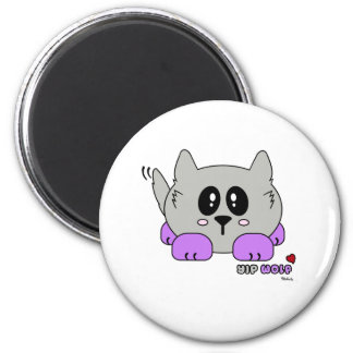 Yip Wolf the Cute Wolf Pudgie Pet by Melody 2 Inch Round Magnet