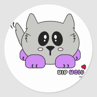Yip Wolf the Cute Wolf Pudgie Pet by Melody Classic Round Sticker