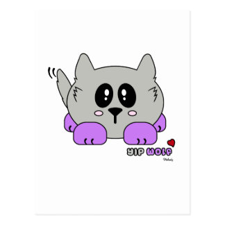 Yip Wolf the Cute Wolf Pudgie Pet by Melody Postcard