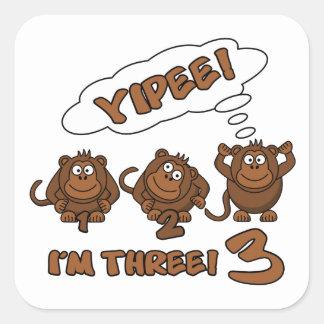 YIPEE! I'm 3  stickers
