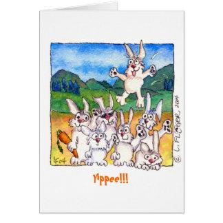 ¡Yippee!  Conejos lindos del dibujo animado que sa Tarjeta De Felicitación