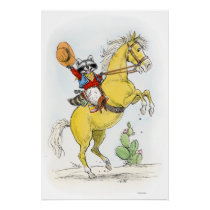 Yippee! Cowboy Racoon on his Horse Print
