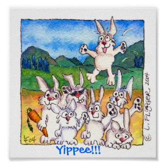 Yippee!!! - Cute Cartoon Bunnies Poster Print