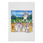 Yippee!!! -Cute Cartoon Rabbits ! Poster Print