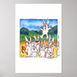 Yippee!!! -Cute Cartoon Rabbits ! Poster Print