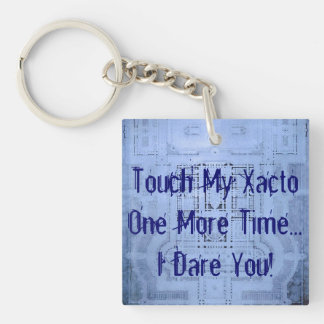 Ykyaasw Xacto Funny Architecture Student Blueprint Single-Sided Square Acrylic Keychain