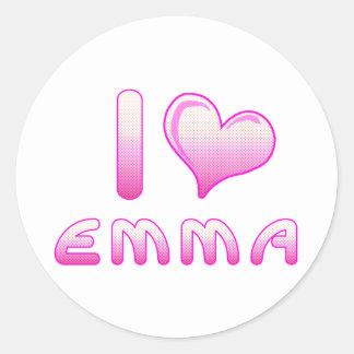 yo ama/los pegatinas de Emma del corazón para los Pegatina Redonda