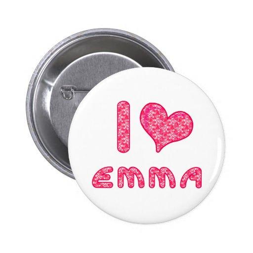 yo aman/la insignia/el botón de Emma del corazón p Pins