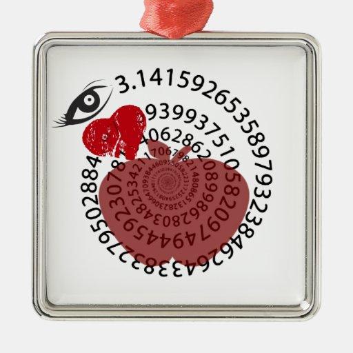 ¡Yo amantes de la matemáticas de la empanada de Adorno Cuadrado Plateado