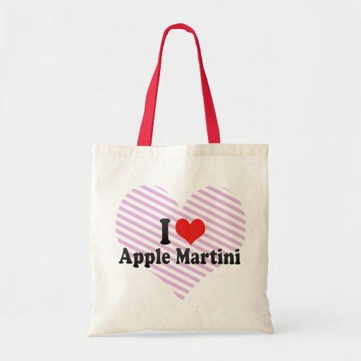 Yo amor Apple Martini Bolsas Lienzo