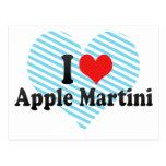 Yo amor Apple Martini Tarjetas Postales