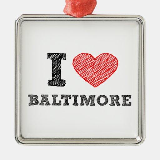 Yo-Amor-Baltimore Adorno Navideño Cuadrado De Metal