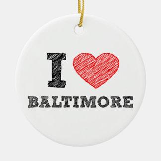 Yo-Amor-Baltimore Adorno Redondo De Cerámica