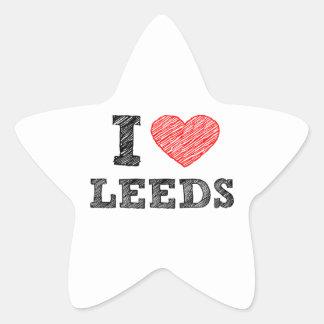 Yo-amor-Leeds Pegatina En Forma De Estrella