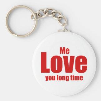 Yo amor usted día de San Valentín del tiempo largo Llavero Redondo Tipo Pin