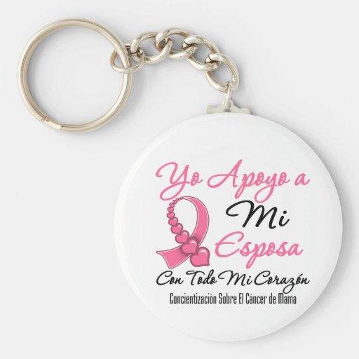 Yo Apoyo a Mi  Esposa - Cáncer de Mama Key Chains
