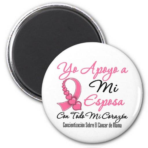 Yo Apoyo a Mi  Esposa - Cáncer de Mama Fridge Magnets