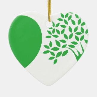 Yo árboles de amor adorno de cerámica en forma de corazón