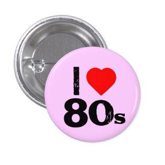 """""""Yo botón de Pinback de los años 80 del corazón"""" Pin Redondo De 1 Pulgada"""