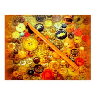 Yo botones del vintage del gancho de ganchillo tarjeta postal
